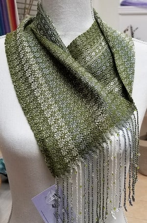 Image of Cowl - Olive w/ Sage Silver White and Beaded Fringe.