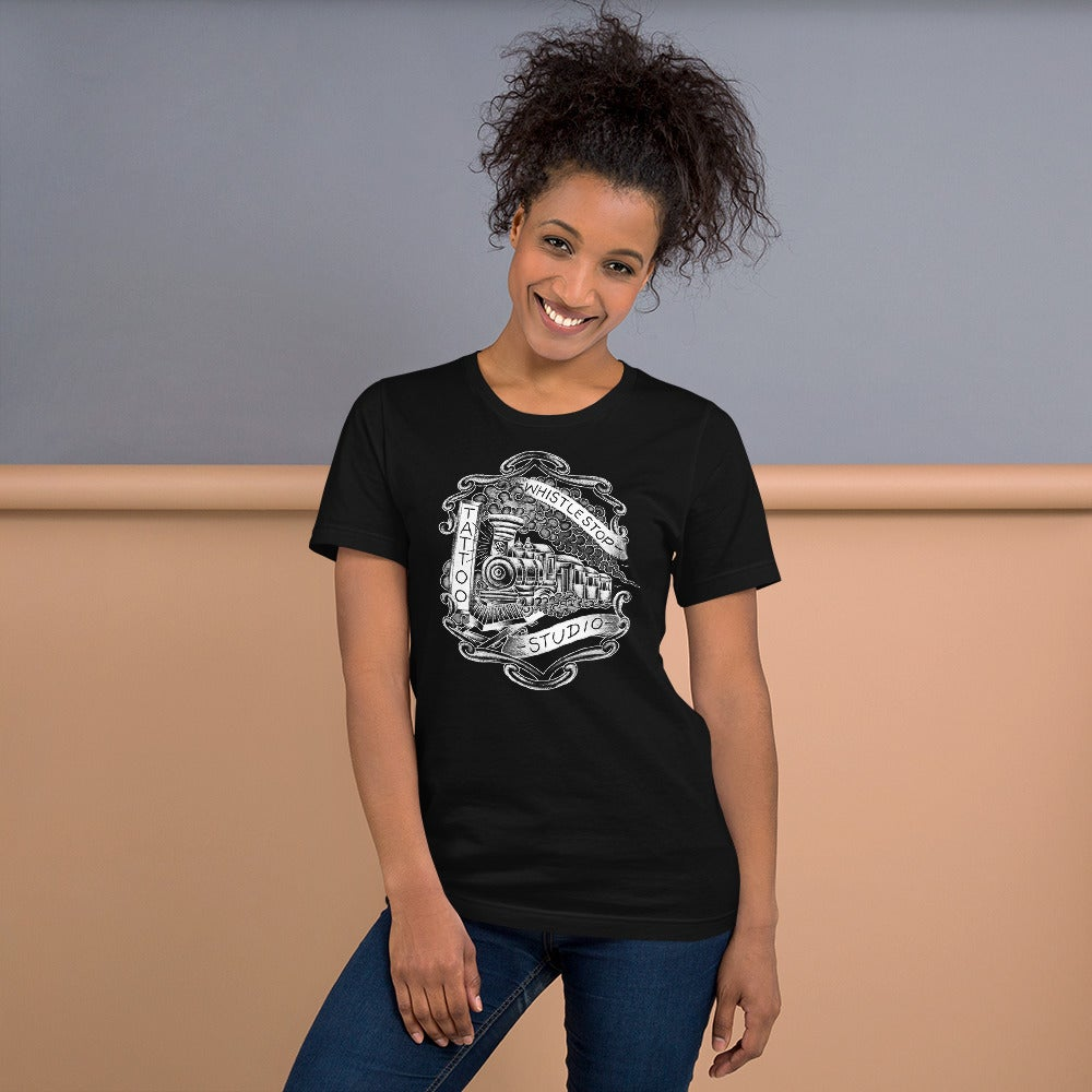 Short-Sleeve Unisex T-Shirt featuring Whistle Stop Studio logo by Shawn Brown