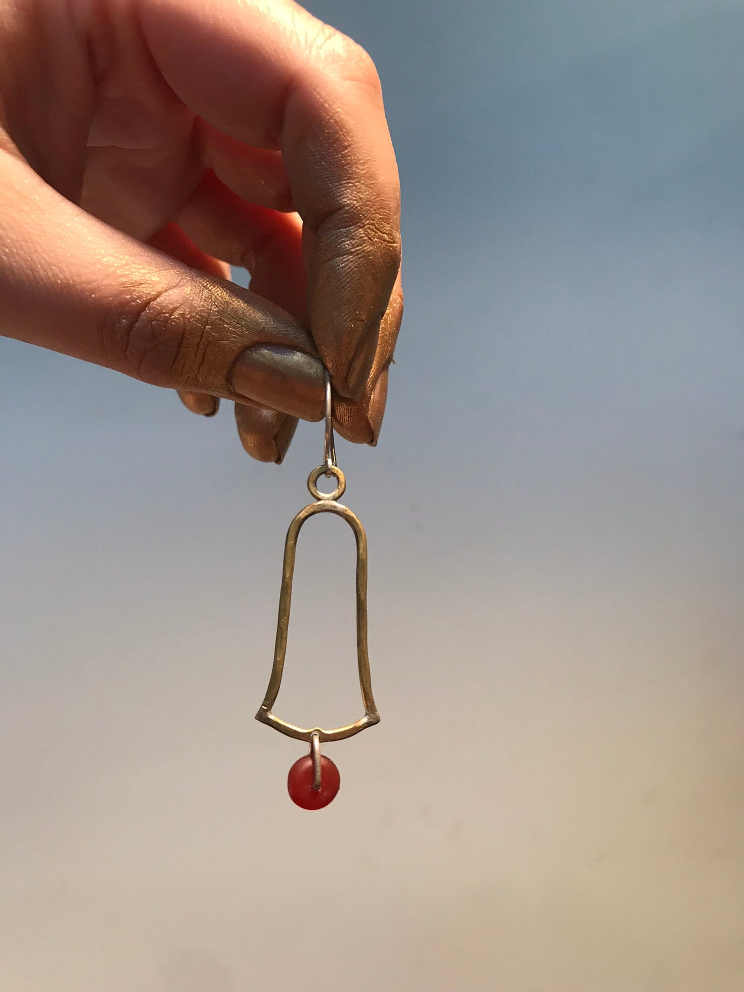 Image of Brass and stone bell earring