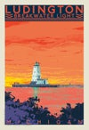 Ludington Breakwater Light Limited Edition Sunset 13x19 Print No. [097]