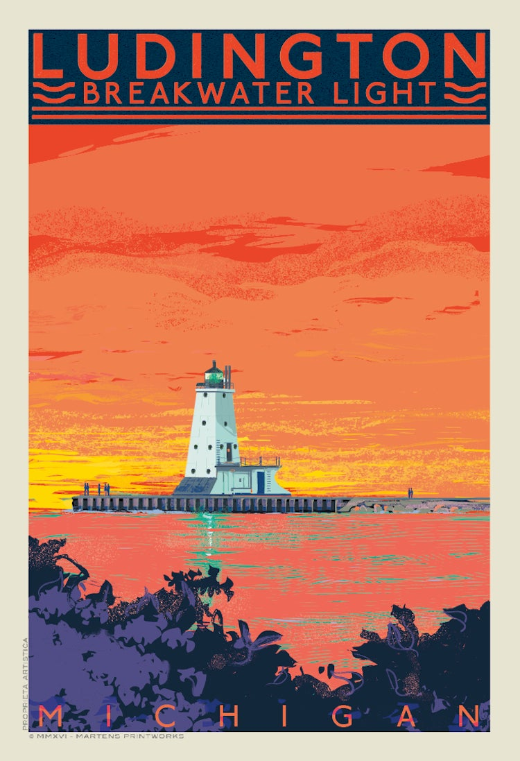 Image of Ludington Breakwater Light Limited Edition Sunset 13x19 Print No. [097]