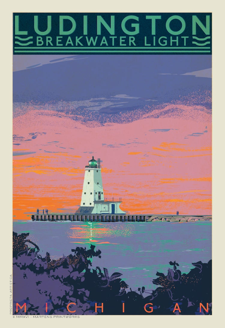 Image of Ludington Breakwater Light Limited EditionTwilight 13x19 Print No. [097]