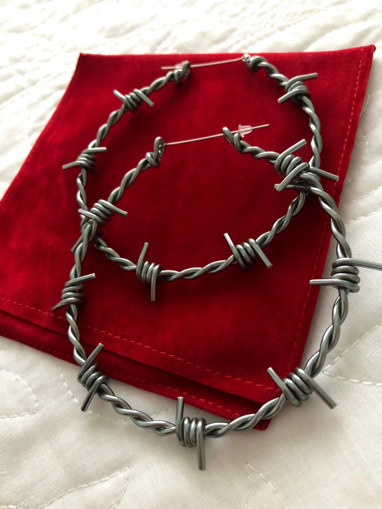Image of LARGE BARBED WIRE HOOP EARRINGS