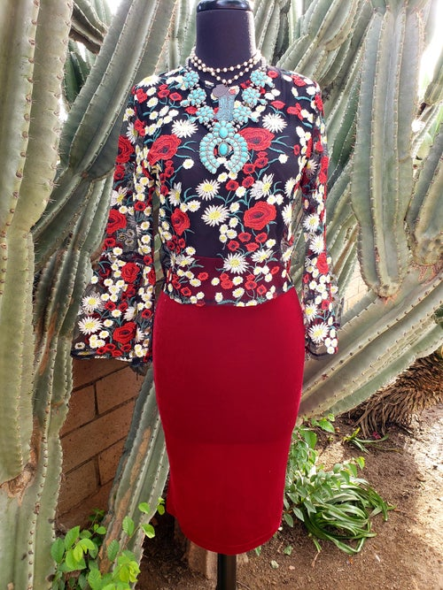 Image of Red Velvet Skirt