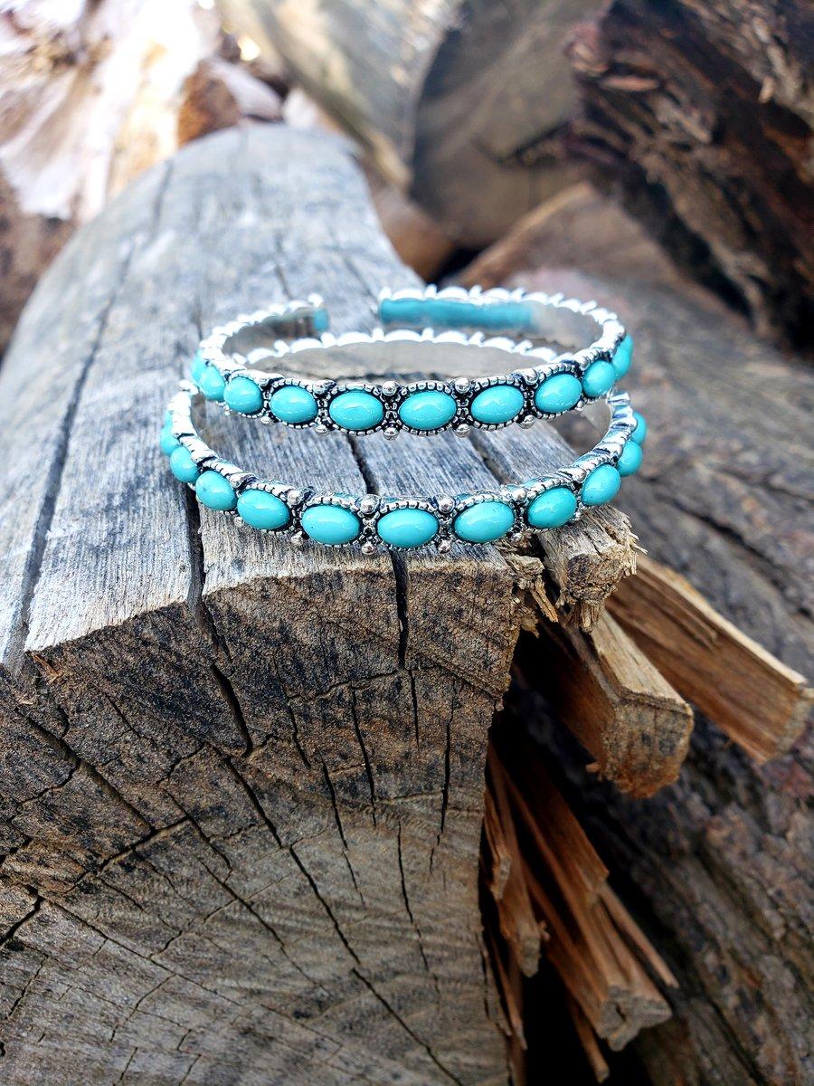 Image of Turquoise Hoop Earrings