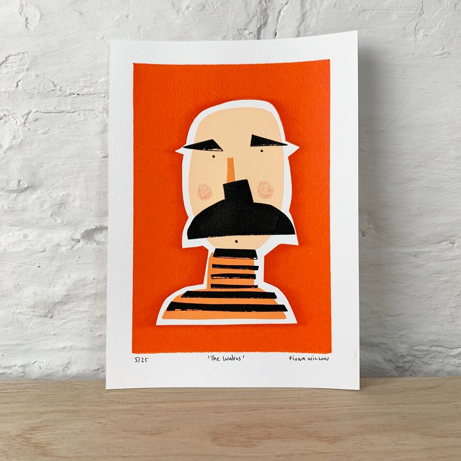 Image of The Walrus - A5 Hand Screen Printed Limited Edition Moustache Man