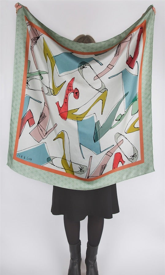 Image of Shoes / Coffee & Teapots Square Silk Twill Scarf
