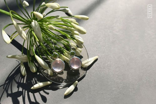 """Image of """"Sense of spring"""" silver earrings with rose quartz and chrysolite · SENSUS VERIS ·"""