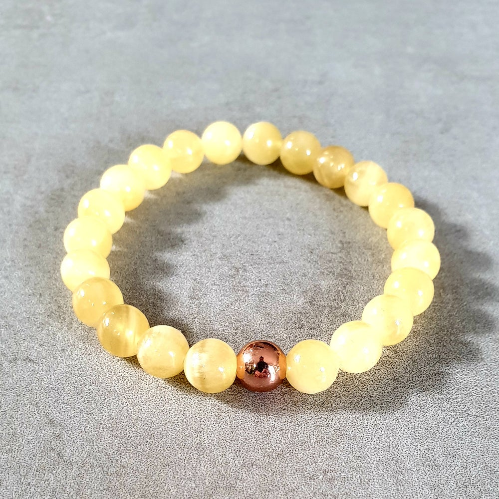Image of ORANGE CALCITE & COPPER BRACELET - 6mm & 8mm bead sizes