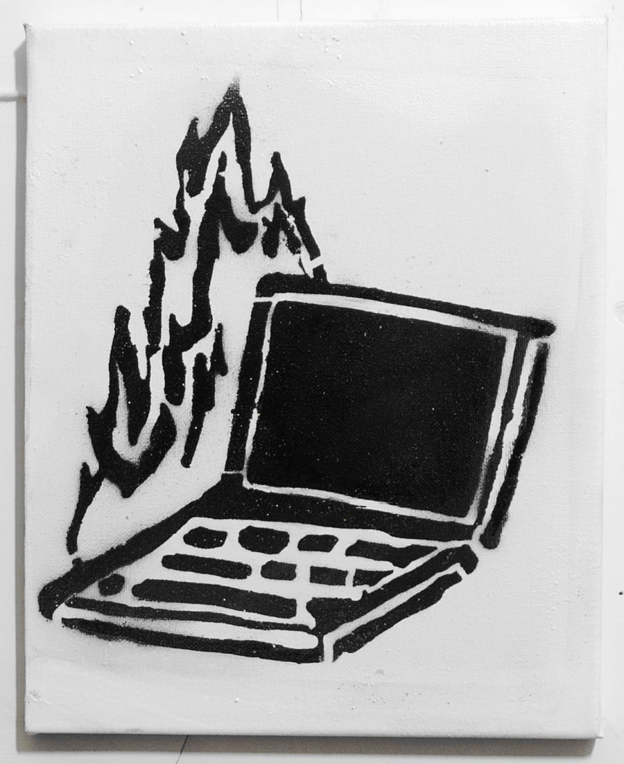 Image of Burning Pc - Stencil on Canvas