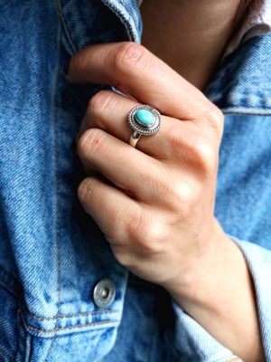 Image of Bague turquoise du tibet - taille 55,5 - ref. 5721