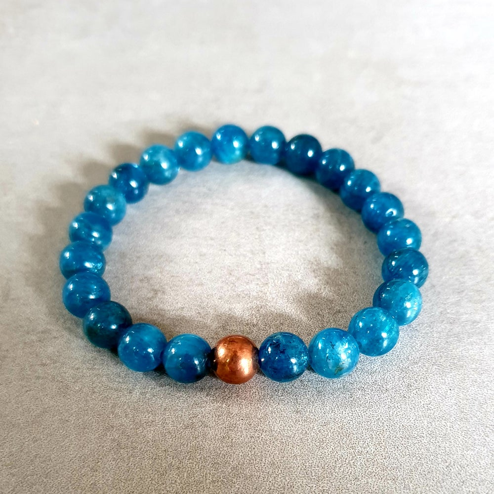 Image of APATITE & COPPER BRACELET - 6mm & 8mm bead sizes