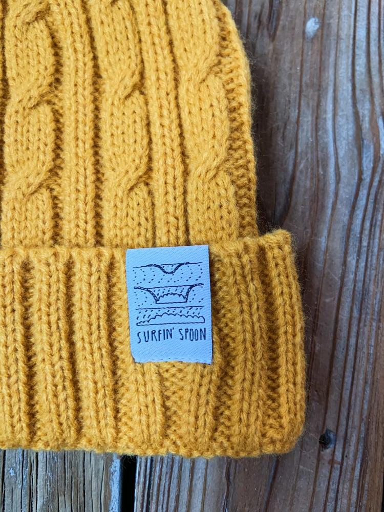 Image of Surfin' Spoon Beanie - Mustard Knit w/Pom Pom