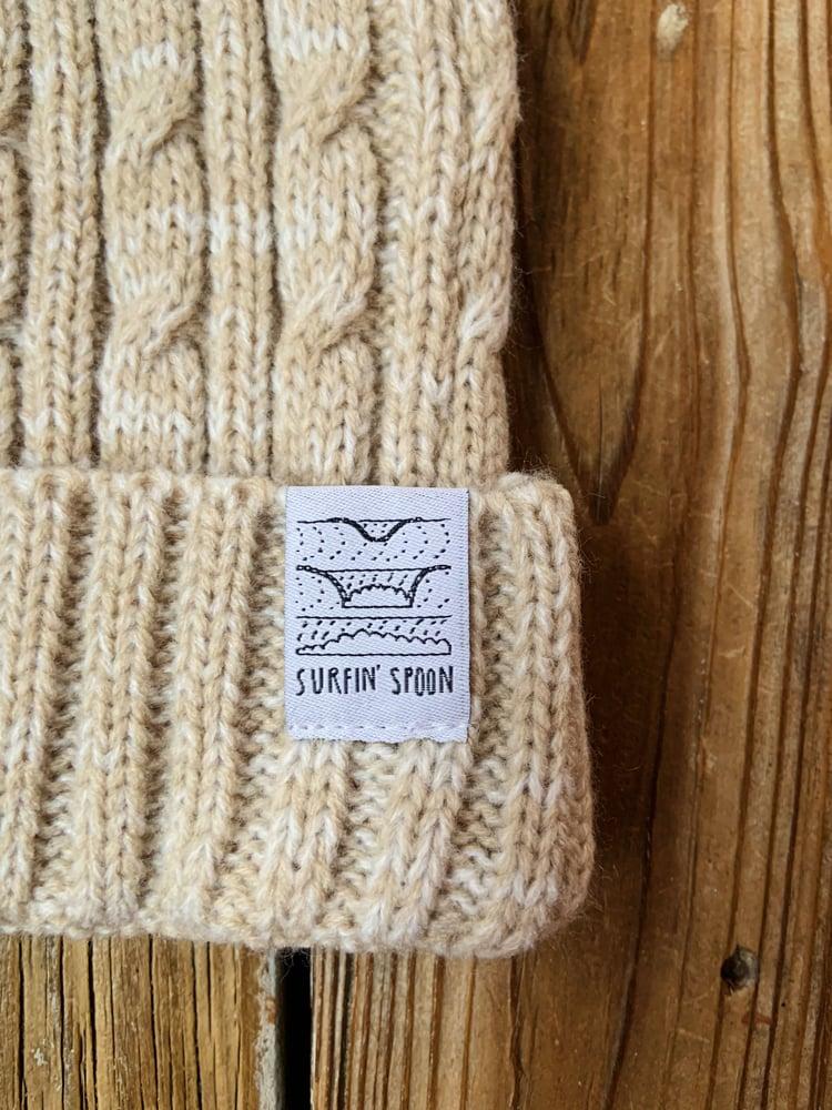Image of Surfin' Spoon Beanie - Sand Knit w/ Pom Pom