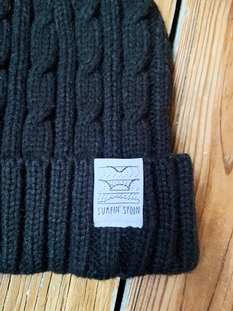 Image of Surfin Spoon Beanie - Black Knit w/ Pom Pom