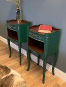 Image 3 of A pair Of French dark green side tables