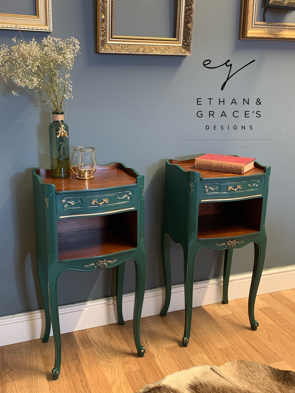 Image of A pair Of French dark green side tables