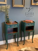 Image 1 of A pair Of French dark green side tables