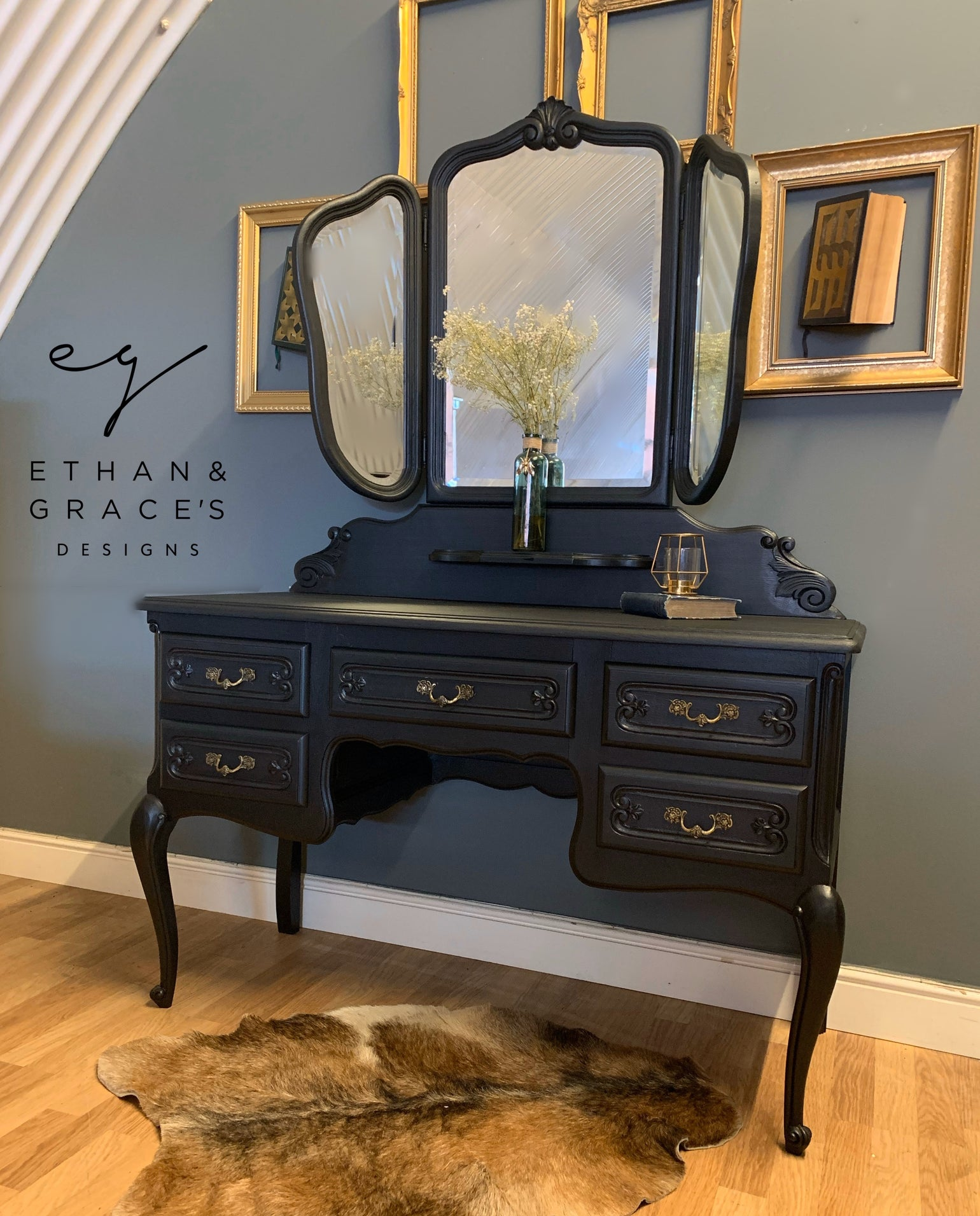 Image of Black French oak dressing table