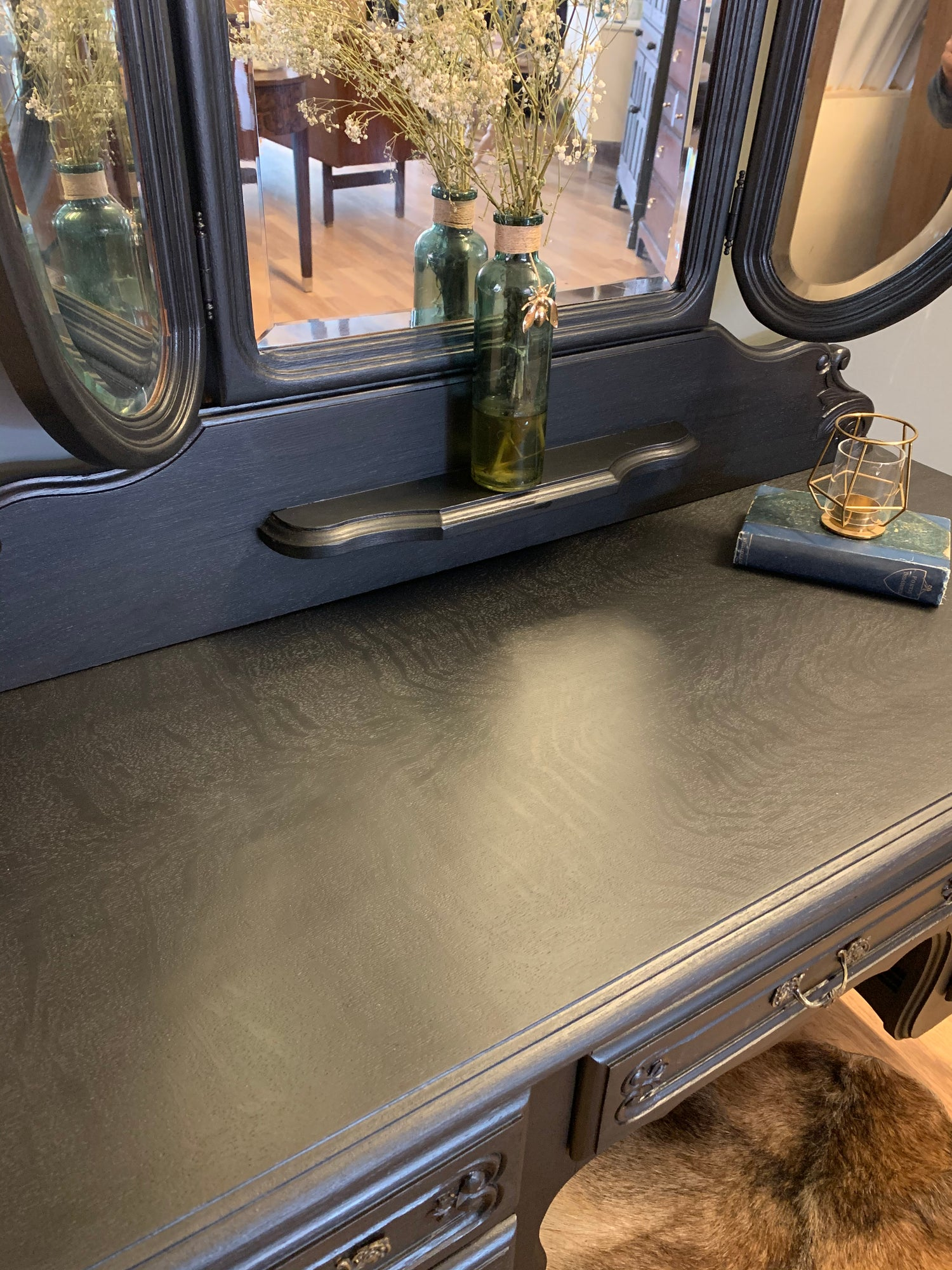 Image of Black French oak dressing table