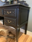 Image 2 of Black French oak dressing table