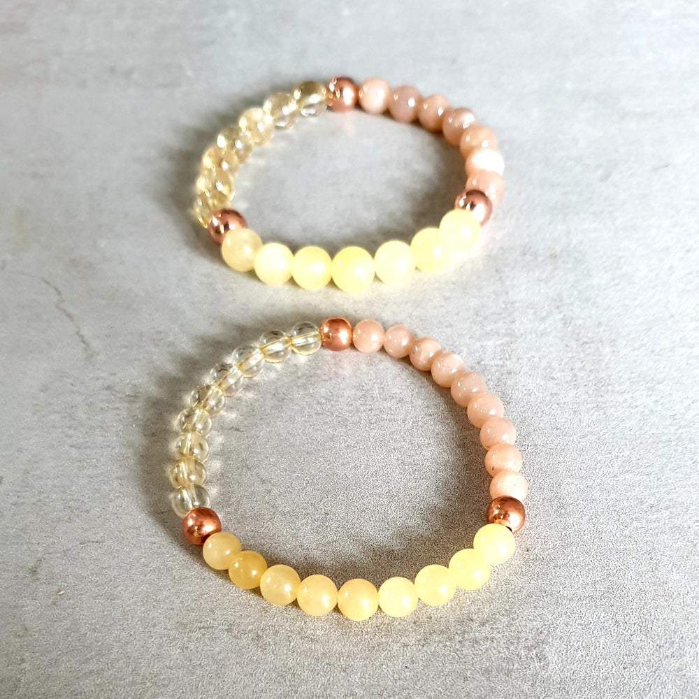 Image of SOLAR PLEXUS CHAKRA REIKI BRACELET - Citrine - Sunstone - Orange Calcite - Copper