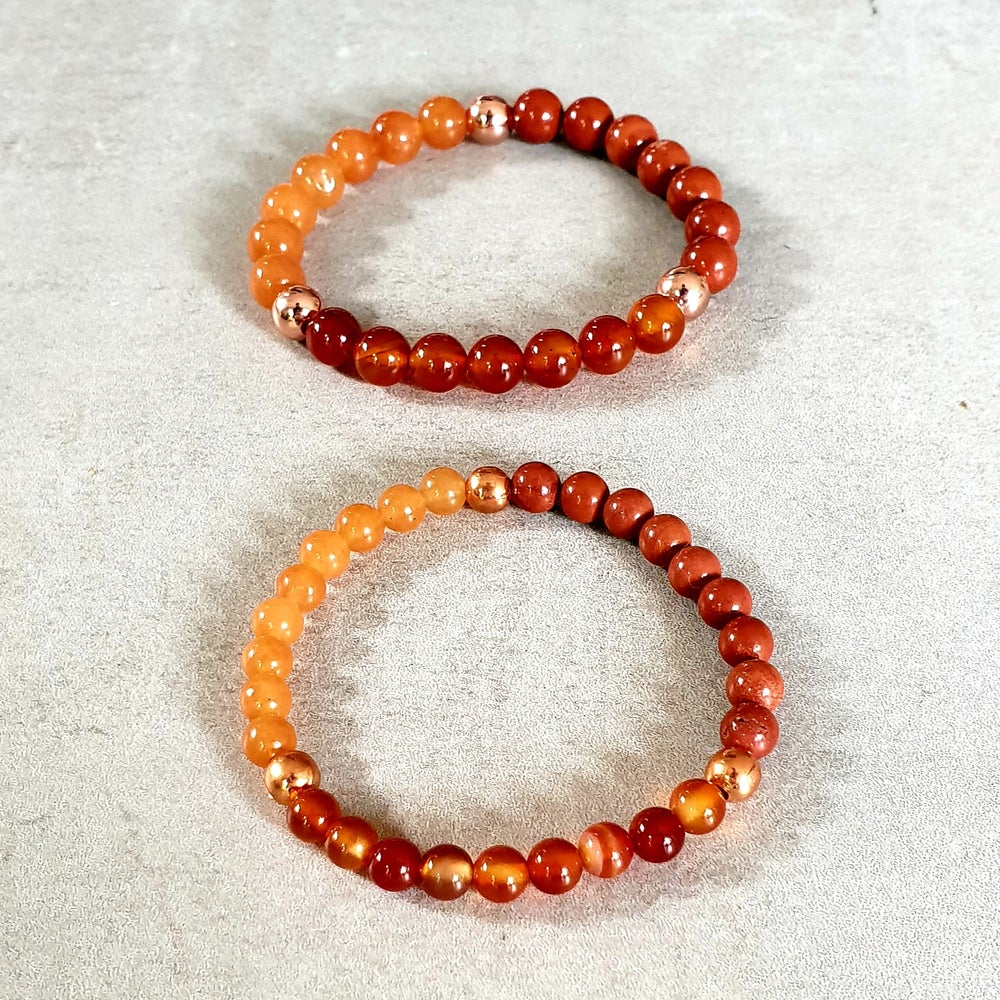 Image of SACRAL CHAKRA REIKI BRACELET - Orange Aventurine - Carnelian - Red Jasper - Copper
