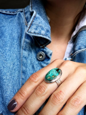 Image of Bague turquoise du Tibet - taille 54 - ref. 5242