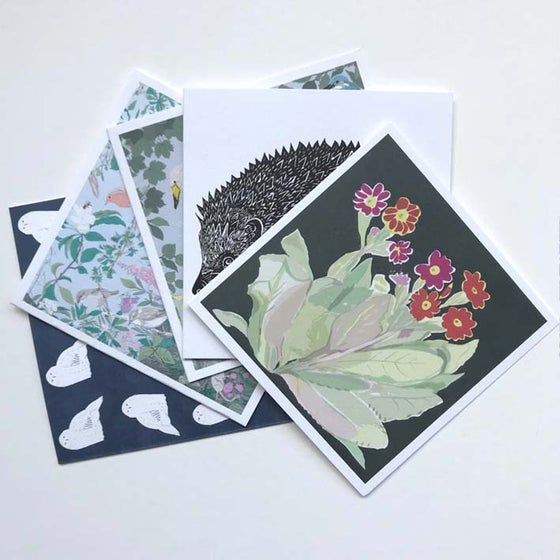 Image of SQUARE GREETINGS CARDS ~ PLANTS , BIRDS & ANIMALS SELECTION