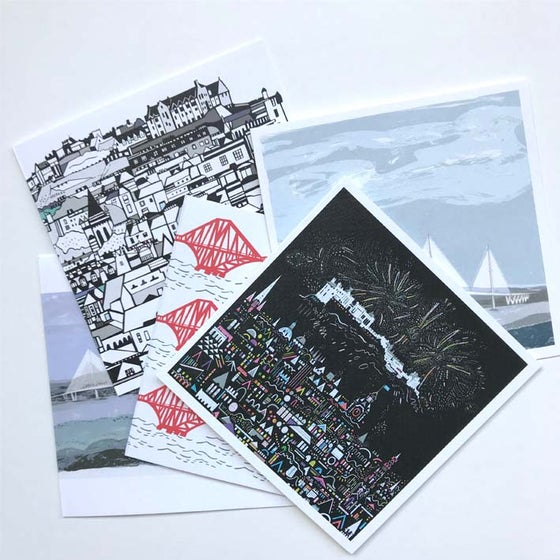 Image of Square Greetings cards ~ Edinburgh selection 03