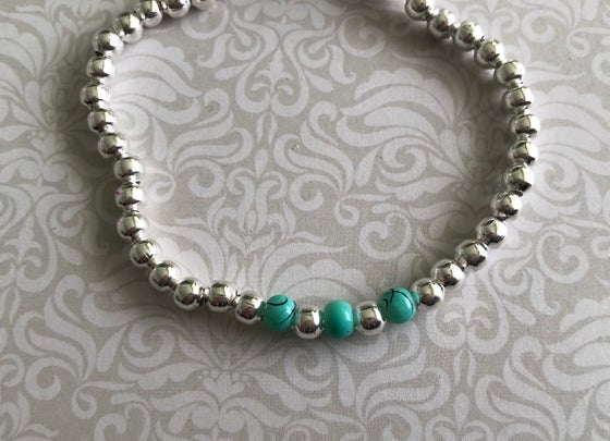 Image of Turquoise, lilac or pink ball bead bracelet