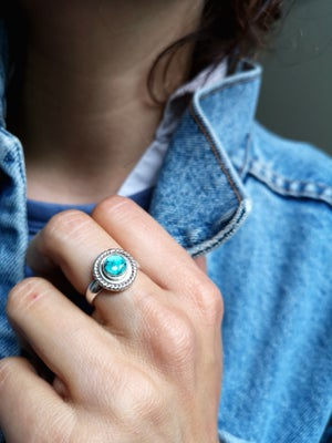 Image of Bague turquoise du Tibet - taille 54,5 - ref. 5798