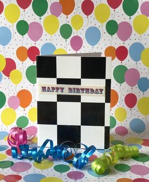 Image of Happy Birthday checkered