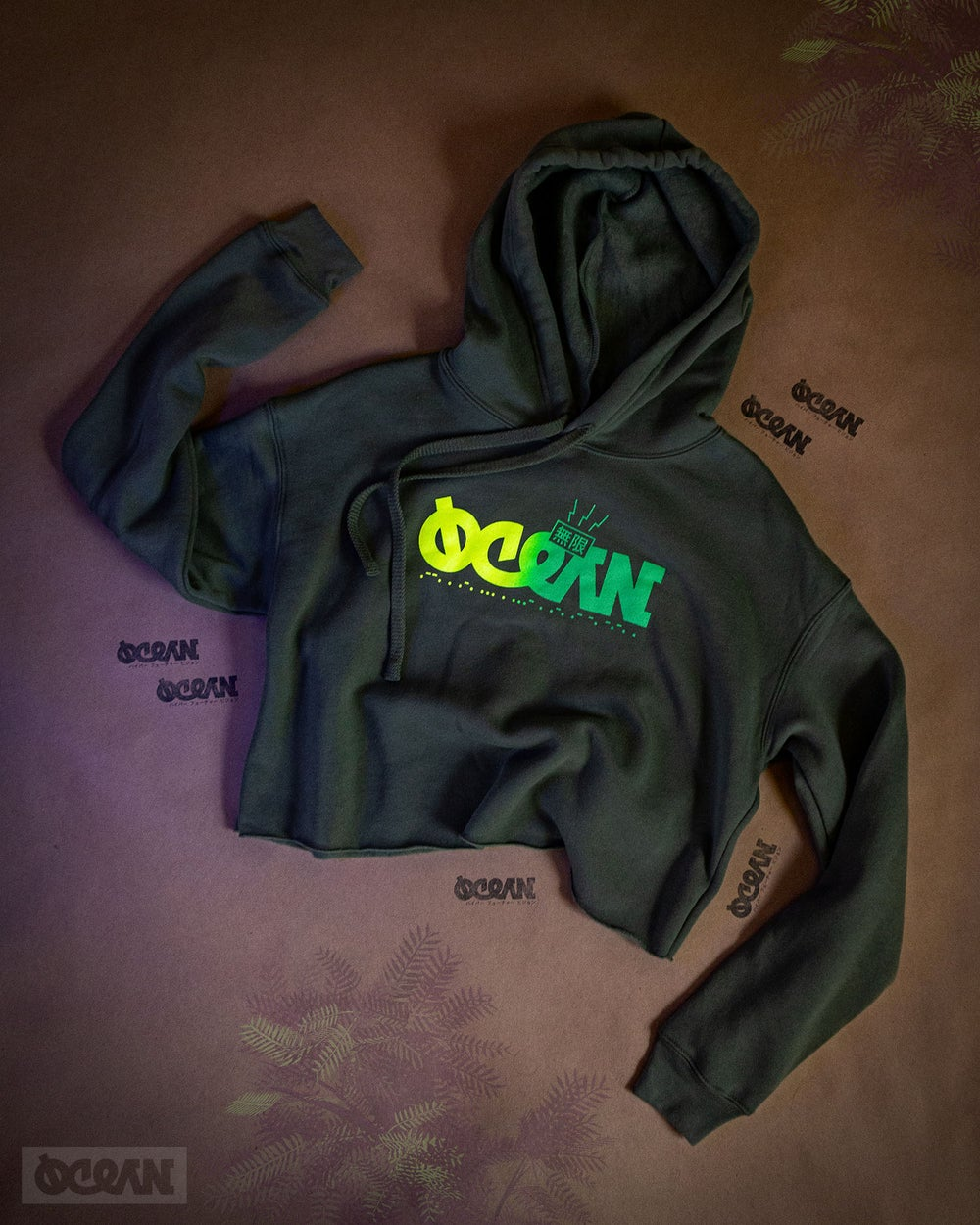 Image of Moss Fade Cropped Hoodie
