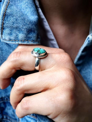 Image of Bague turquoise du tibet - taille 54 - ref. 4670