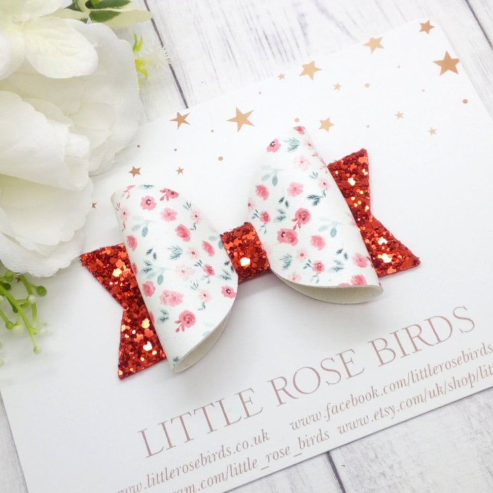 Image of Poppy Field Bow - Choice of Headband or Clip