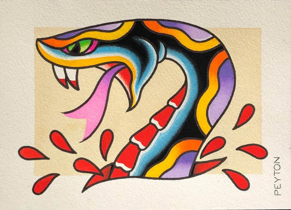 """snake painting 5x7"""""""