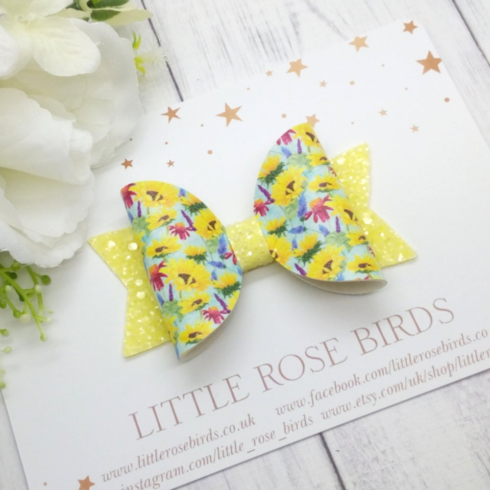 Image of Yellow Sunflower Bow - Choice of Headband or Clip