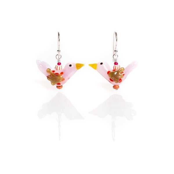 Image of pink birdy earrings