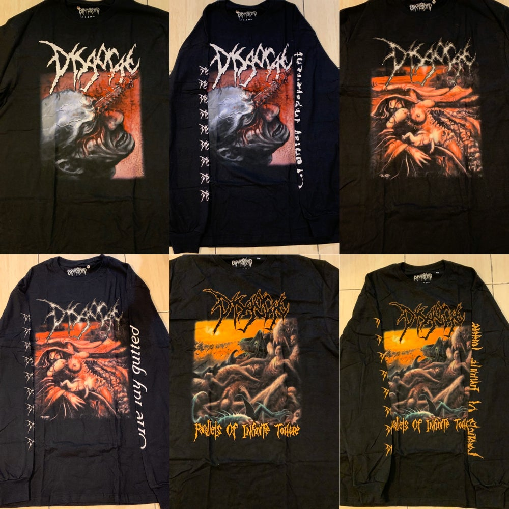 """Image of Official Disgorge""""Cranial Impalement""""""""She Lay Gutted""""Parallels Of Infinite Torture""""Short/Long Shirts"""