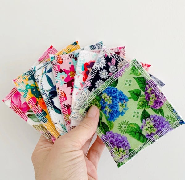 Image of Floral Reusable Face Wipes 7 pack