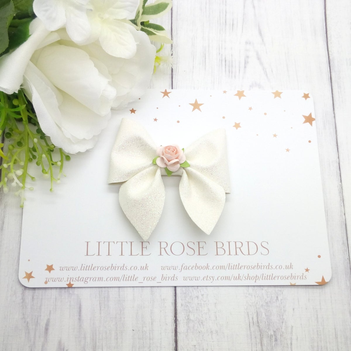 Image of White Glitter Pinch Bow - Choice of Headband or Clip