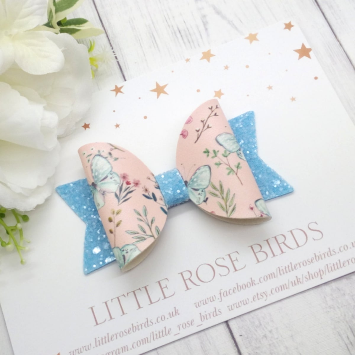 Image of Butterfly Garden Bow - Choice of Headband or Clip