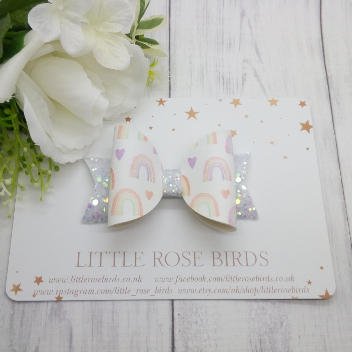 Image of Watercolour Rainbow Bow - Choice of Headband or Clip