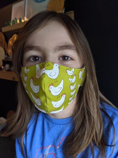 Image of Child face mask age 6-8  (Pattern for ages 2-5 available upon request)