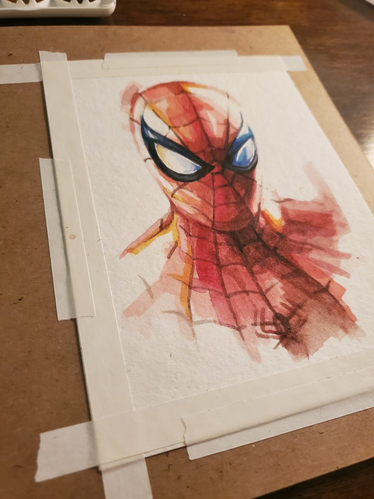 Image of Spider-Man - Watercolor Painting