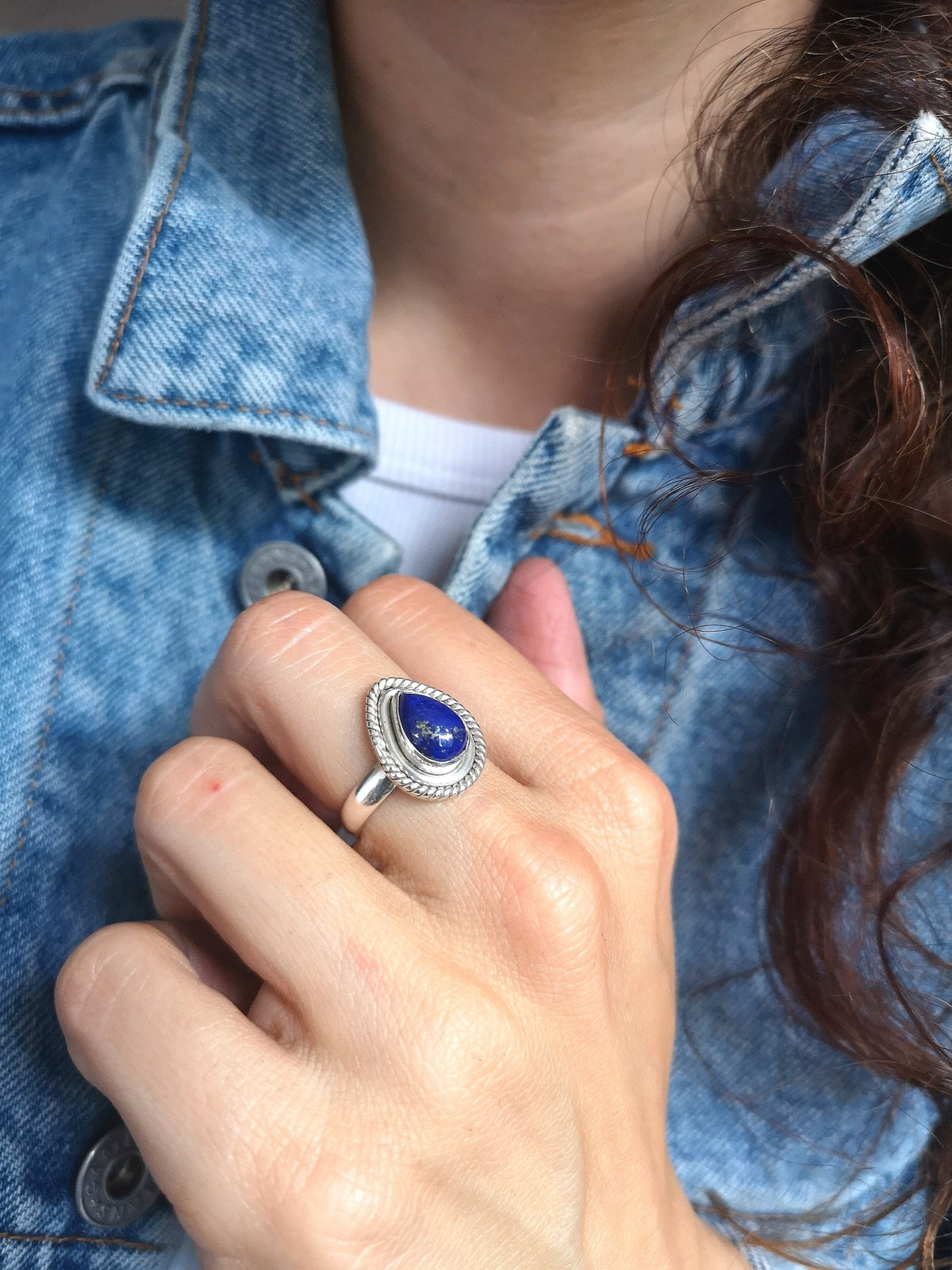 Image of Bague lapis lazuli taille 54 - ref. 4556