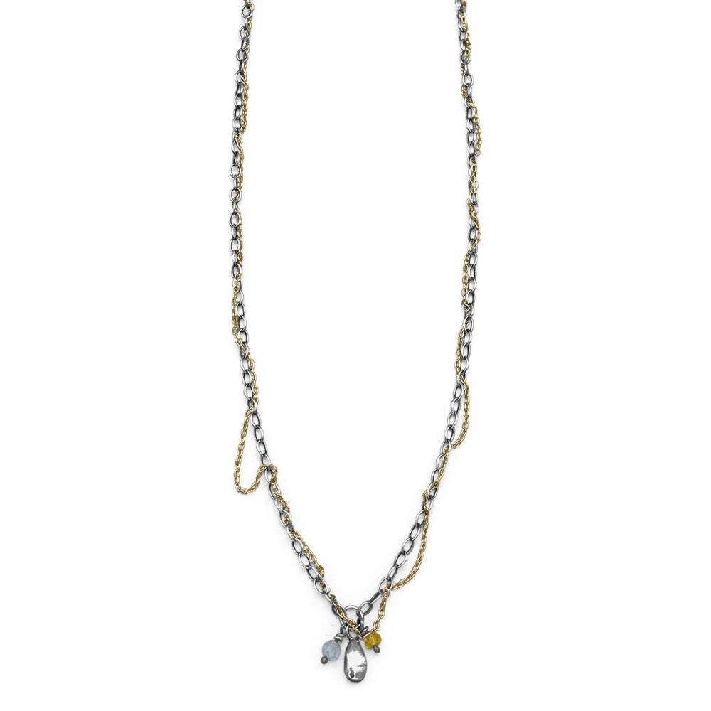 Image of Silver Seed Threaded Silver & Gold Mixed-Chain Beaded Necklace