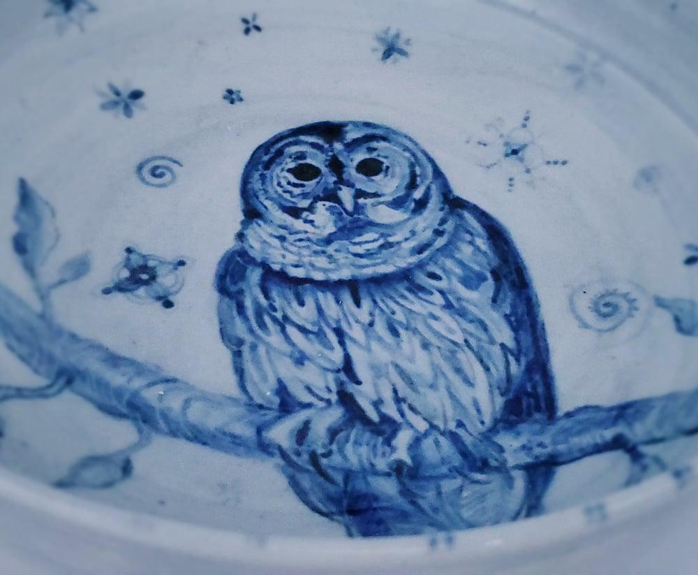 Image of Colbalt Barn Owl Porcelain Bowl