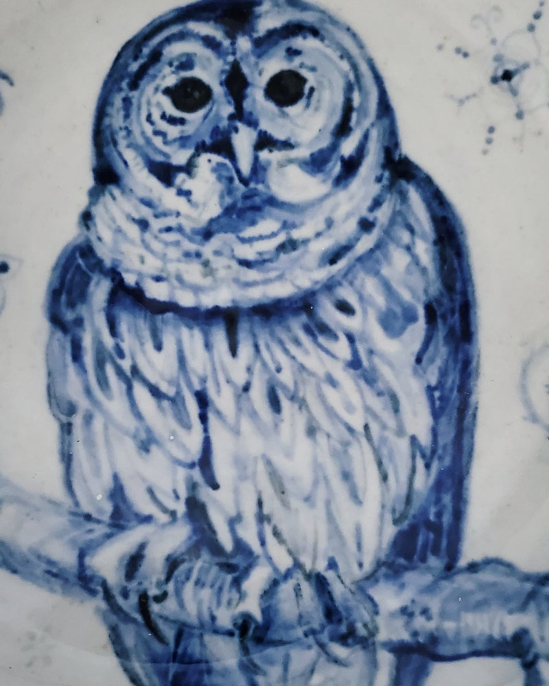 Image of Colbalt Barn Owl Porcelain Bowl